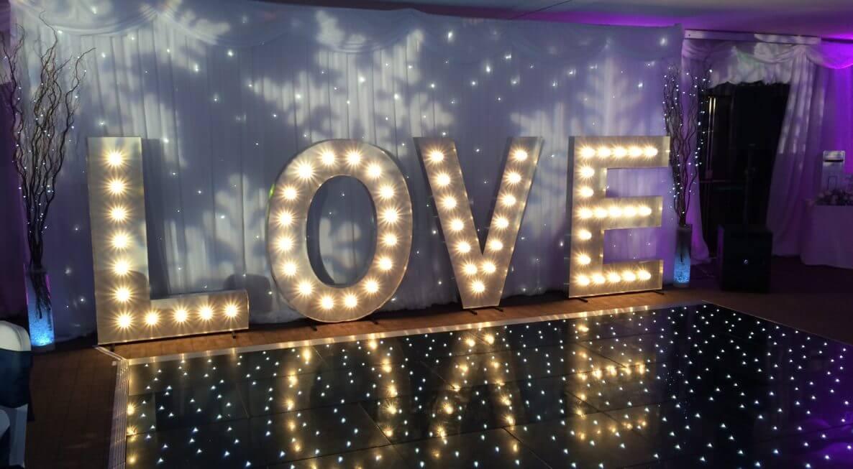 Black starlit dance floor hire in Leicester
